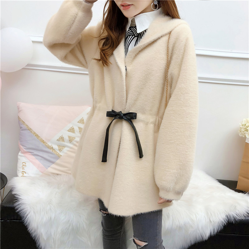 Faux Fur Coat 2019 Women Autumn Winter Soft Thick Warm Single Breasted Outerwear Hooded Lace Up