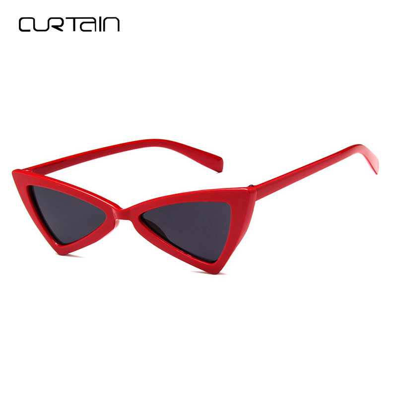 Curtain Vintage Women Sunglasses Irregular Triangle Cat Eye Black Ladies Sunglass Retro Red Personality Eyewear Glasses Y5160