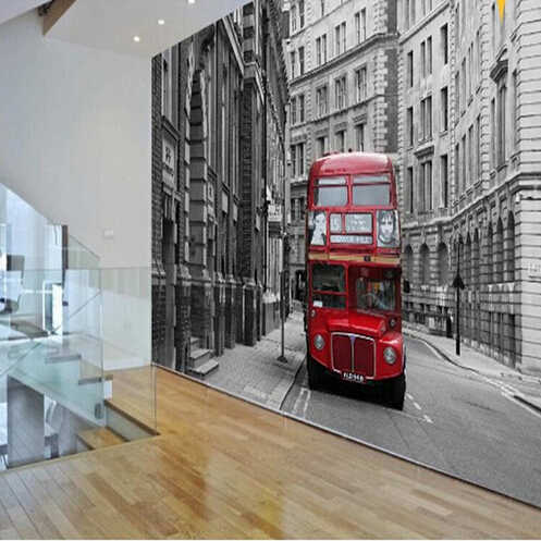 Custom photo wallpaper European classical art retro nostalgia red London bus hotel hall bedroom living room mural wall paper