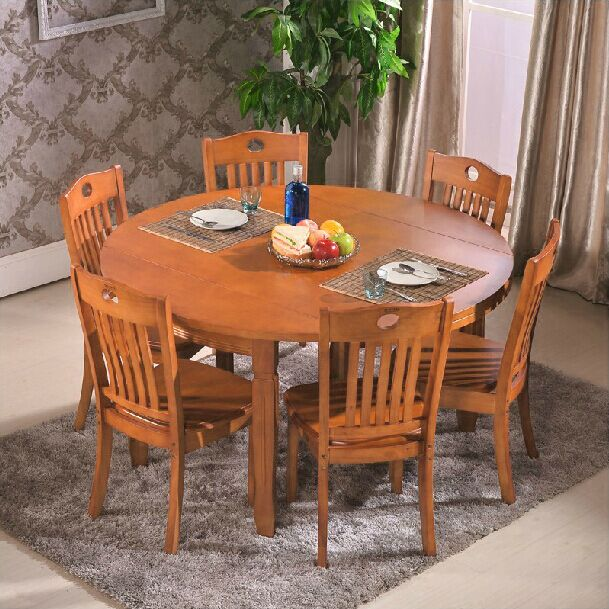 Small Wood Dining Tables: All Solid Wood Dining Table Folding Small Apartment
