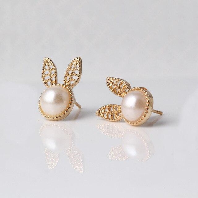 0a3fddd9eedd Oro color earing mujeres pequeño para las niñas aros boucle d oreille doble  conejo stud