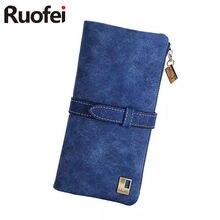 RUO FEI rushed Lady Bag Women Wallets Purse Matte Drawstring Nubuck Handbags Leather Zipper Long Two Fold Clutch Card Holder