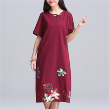 Shot 2016 Summer New Retro Folk Style Cotton Embroidery Large Size Women Dress Pure Color Short Sleeve Vintage Dress