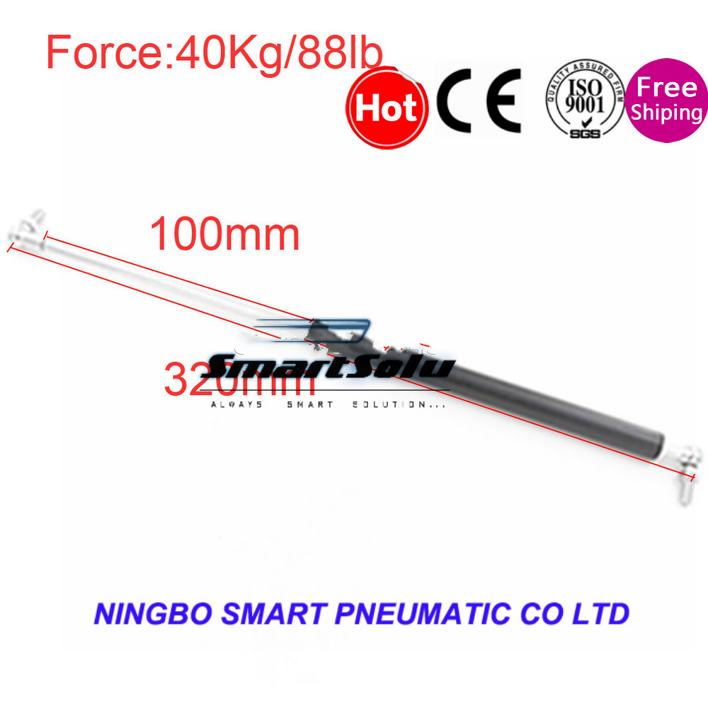 free shipping 100mm Stroke 40KG/88lb Force Hood Lift Support Gas Spring for Funiture Door 320mm Central Distance for Car kitchen cabinet door lift pneumatic support hydraulic 750mm central distance 320mm strok gas spring stay for wood box
