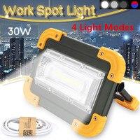 30 Вт портативная светодиодная USB Перезаряжаемый свет для кемпинга COB Светодиодный прожектор легкий наружный светильник Открытый рабочий то...
