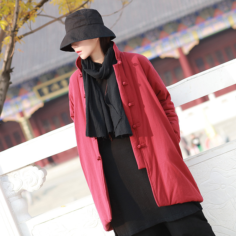 New arrival Winter coat women Chinese style retro jacket thickened medium long outwear plus size cotton linen   parkas