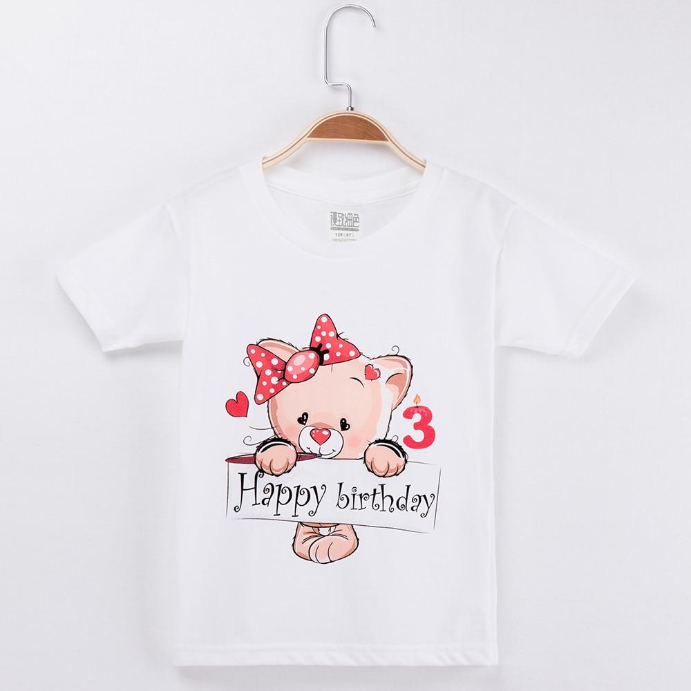 2019 Crianças T-shirt Feliz Aniversário Branco 1-13Y Kawaii Urso 100% Algodão Crianças Camisas Curtas da Menina Tops Do Bebê Meninos Roupas tshirt
