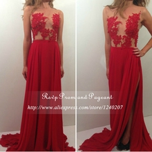 Sexy See Through Top Beaded Appliques A-line Chiffon Long Red Prom Dresses 2017 With High Slit Sweep Train