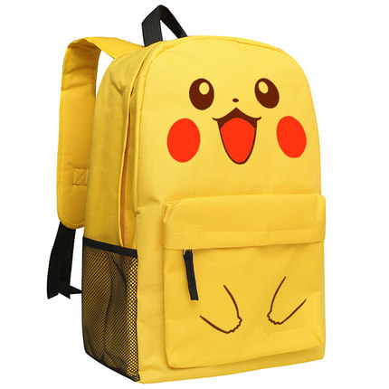 Pocket Monster Gengar Cosplay Backpack Pokemon Go Pikachu Cartoon Bag Anime Black Yellow Oxford Schoolbag
