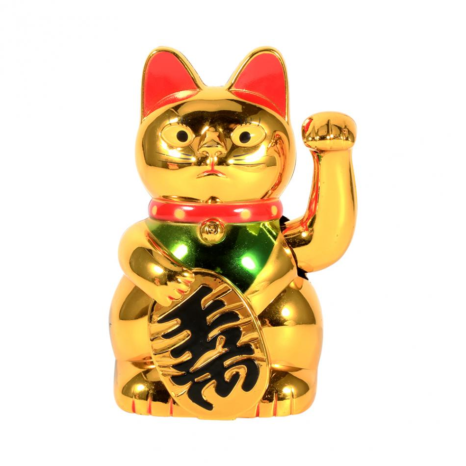 Collectibles Welcome Waving Golden Plastic Luck Fortune Cat Figure With Moving Arm Asian