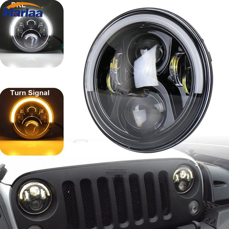 1PAIR Round Headlamp 7 50W LED Headlight Assemblies with Amber/White Halo DRL for Jeep Wrangler JK 9012 hir2 led headlight bulbs 50w 8000lm fanless auto headlamp conversion kit for toyota chevrolet cadillac buick gmc ford jeep