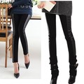 Black Elastic Waist Look Stripes Leather Patchwork Skinny Legging Pencil Pants Trousers