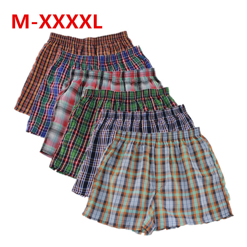 Shanboer 4PCS/lot Mens Underwear Boxers Loose Shorts Men'S Panties Cotton Male Large Classic Plaid Arrow Pants Plus Size 4XL
