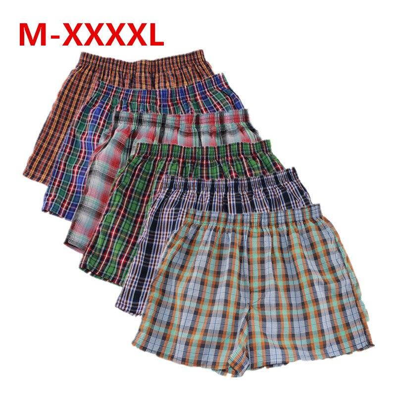 Shanboer 4 pz/lotto Mens intimo boxer pantaloncini allentati mutandine da uomo in cotone maschio grande classico Plaid freccia pantaloni Plus Size 4XL