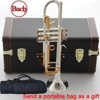 100% original Bach trumpet LT180S 72 B flat Silver plated gold button professional trompete Top musical instruments Brass horn