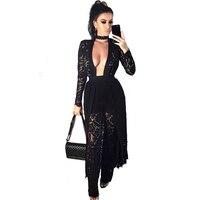 Весна 2017 хиппи boho платья женские черные длинные платье Элегантное Полный рукавом глубоким разрезом джемпер Rock Клубная одежда