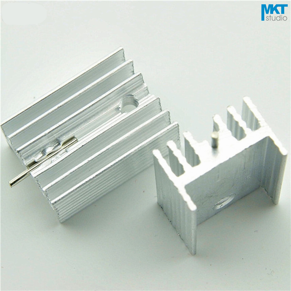100Pcs 21x15x10W Pure Aluminum Cooling Fin Radiator Heat Sink