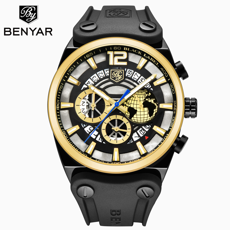 BENYAR new mens watch top luxury / mens sports / casual fashion / military / gold / table waterproof leather Relogio MasculinoBENYAR new mens watch top luxury / mens sports / casual fashion / military / gold / table waterproof leather Relogio Masculino