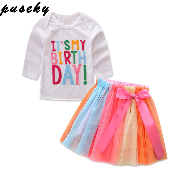 7290d32e5f405 Puseky Lovely Baby Girl Kids Toddler ITS MY Birthday Print Long Sleeve T- shirt+tutu Skirt 2pcs Outfit Clothing Size 1-6T