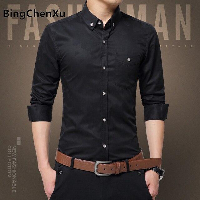 Bingchenxu 5xl Social Shirts Men Dress Shirt Black Long Sleeve