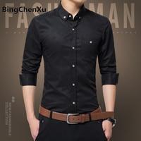 Bingchenxu 5XL Social Shirts Men Dress Shirt Black Long Sleeve Business Formal Shirts Men Plus Size New Work Uniform Shirts 509