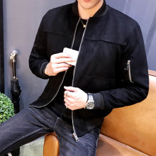 2017 Autumn New Arrival Men's Solid Fashion Jackets Casual Slim Stand Collar Bomber Male Coats Long Rib Overcoat Clothing
