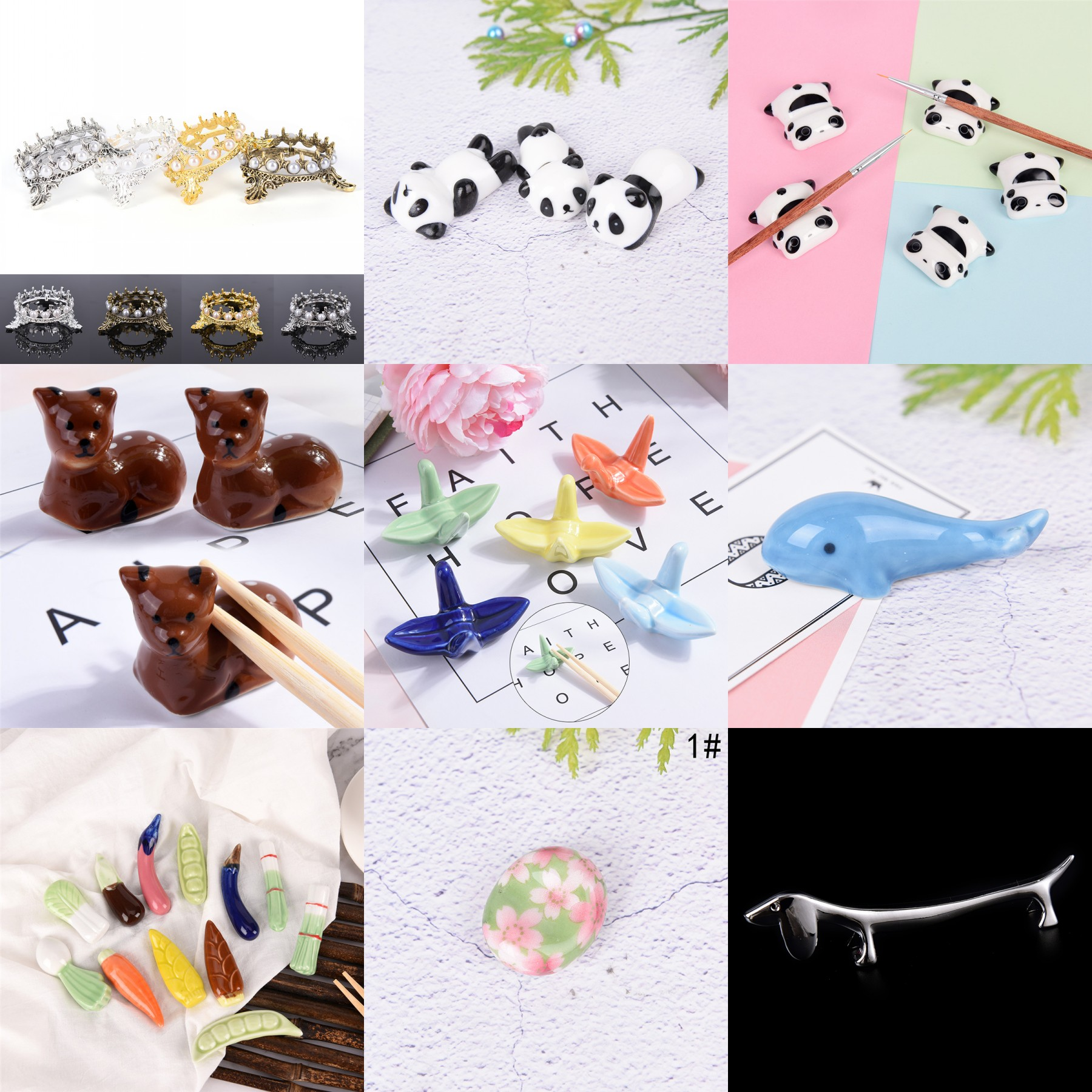 Crown Pearls Dog Cat Fruit Pencil Pens Brushs Stand Rack Decor Salon Home DIY Manicure Nail Carving Drawing Pens Brushes Holder