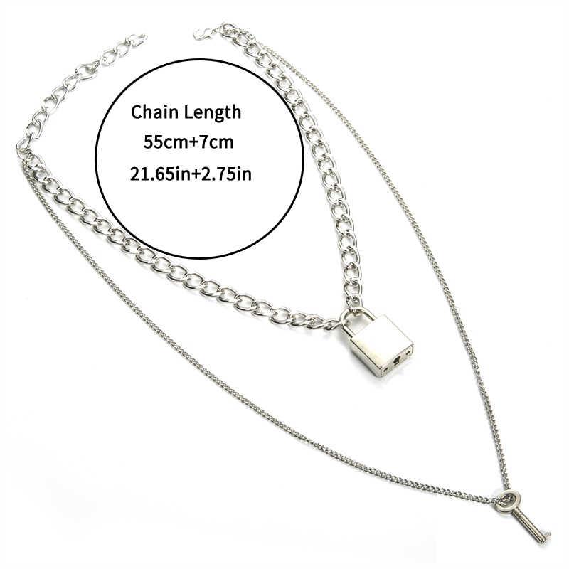 Naszyjnik łańcuch kłódka punk rock 90s link Chain srebrny kolorowe na klucz blokada naszyjnik kobiety moda gotycka biżuteria