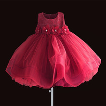 Christmas baby girl dresses RED Flowers first birthday girl party Vintage Lace Party Ball Gown little girls clothing 6M-4T