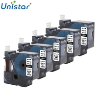 Unistar 5 Pieces 18057 18058 Rhino IND Labels compatible for Dymo Heat Shrink Tube Printer Ribbons White Yellow Label Makers