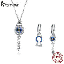 BAMOER High Quality 925 Sterling Silver Crystal Key Cubic Zircon Necklace Earrings Jewelry Set for Women Fine Jewelry ZHS075(China)