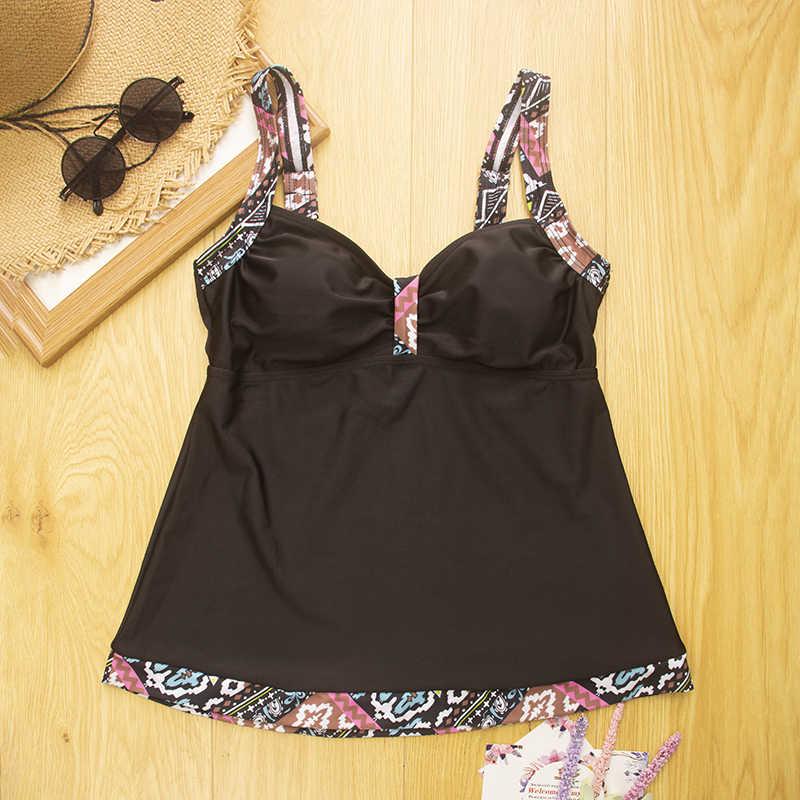 Roupa de banho tankini grande 3xl feminina, maiô vintage push-up para mulheres, roupa de praia preta azul