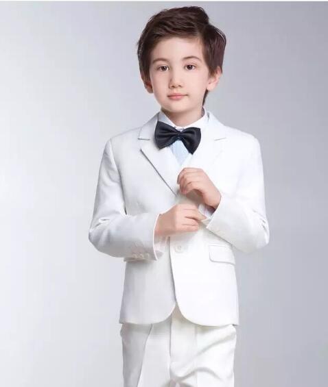 AnpassungsfäHig Junge Reine Weiße Blazer Anzug Kinder Anzüge Für Hochzeit Mantel + Bluse + Tie + Pants + Weste Kinder Anzüge Kostüm Beige Weiß Rosa Farbe Hitze Und Durst Lindern.
