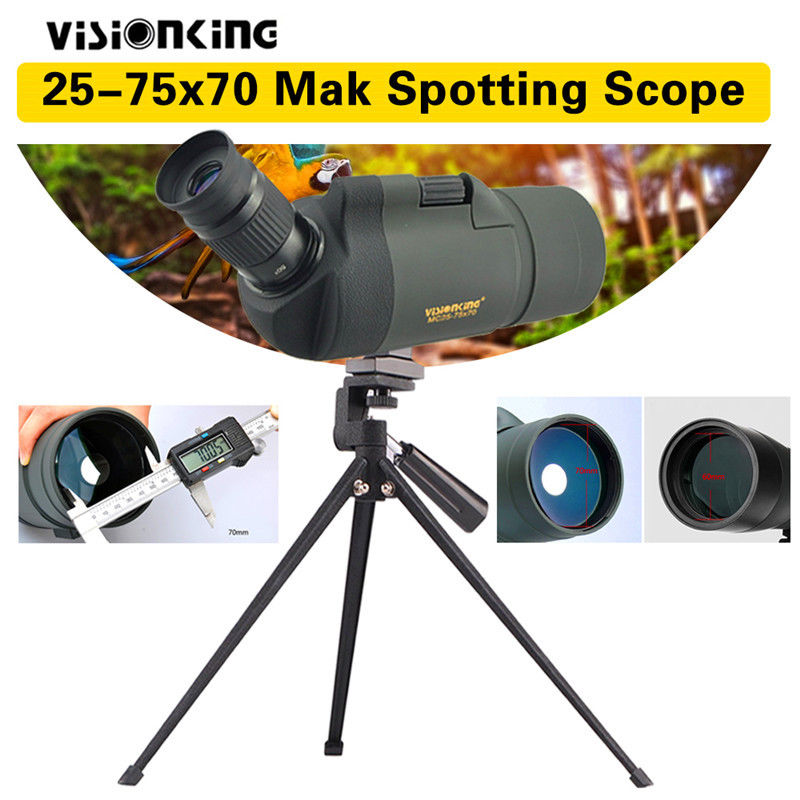 Visionking 25-75x70 Waterproof MAK Spotting Scope Monocular Telescope with Tripod visionking sw 7x28 binocular for birdwatching with 100