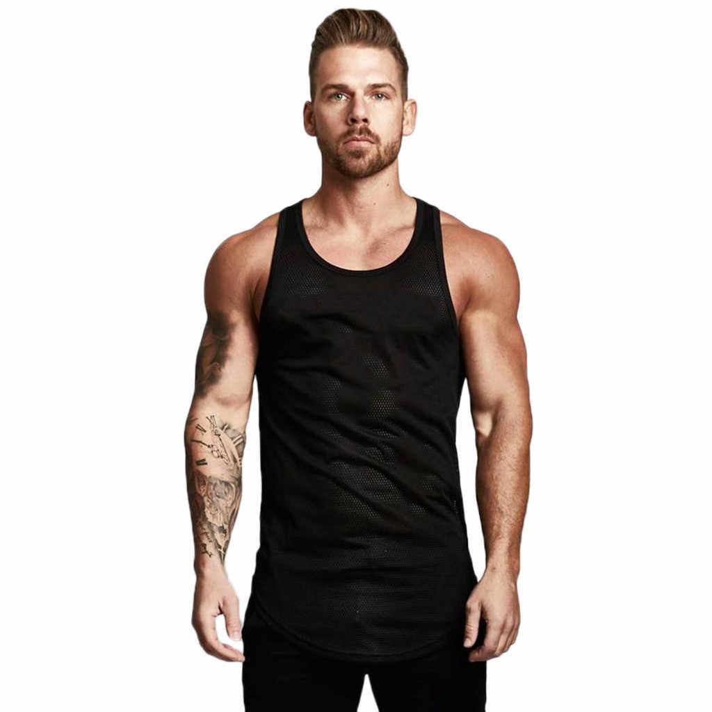 גופייה גברים קיץ 2019 לנשימה שרוולים O צוואר רשת פיתוח גוף ספורט כושר גברים חולצות debardeur homme