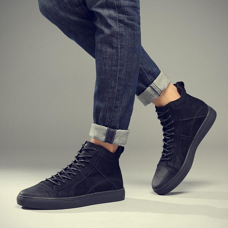 Fotwear Hommes Baskets En Cuir En Cuir chaussures décontractées haut de gamme de mode Noire avec à lacets Bon port avec jeans semelle Souple - 4