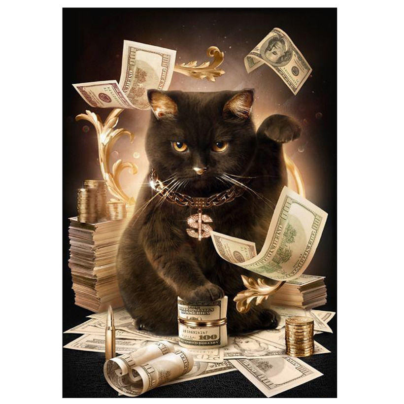 Cat With Cash Pattern Diamond Embroidery DIY 5D Diamond Painting Cross Stitch Full Drill Square Full Mosaic Home Decor
