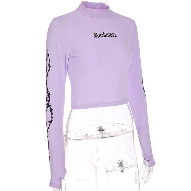 Sweetown Harajuku Crop Top Long Sleeve Turtleneck T Shirt purple Korean fashion Style graphic tees Women Printed Kawaii Tshirt 4