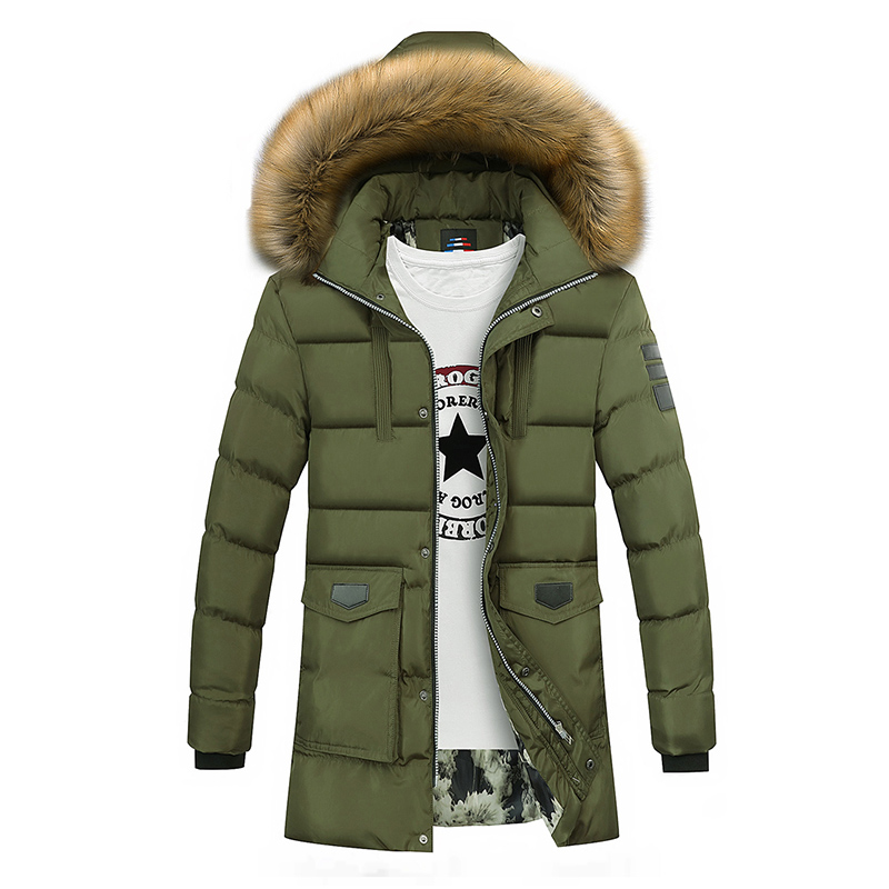 Winter Coat Men Long Thicken Warm Parka Fashion Cotton padded Faux Fur Hooded Jacket Coat Men Outwear jaqueta masculina inverno in Parkas from Men 39 s Clothing