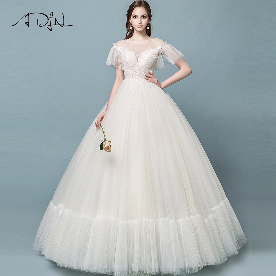 Detail Feedback Questions about ADLN New Princess Ball Gown Wedding Dresses  Scoop Neck Floor Length Applique Tulle Bride Wedding Gowns Robe De Mariage  on ... b3a70fc9dfc5
