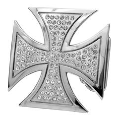Womens Encrusted CZ Jeweled Maltese Cross Gothic Belt Buckle