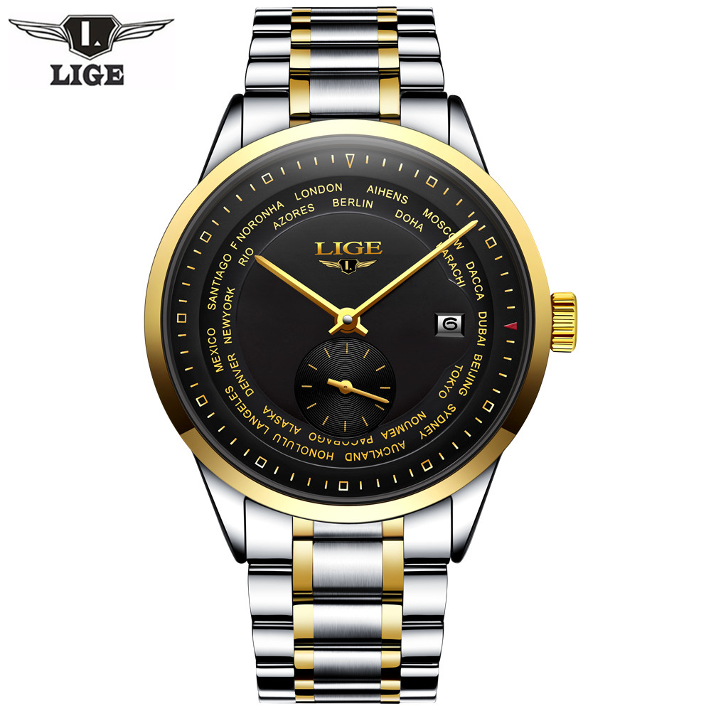 2017 Fashion Casual luxury brand LIGE automatic classic men wirst Watch Dive 50M Mechanical watches relogio