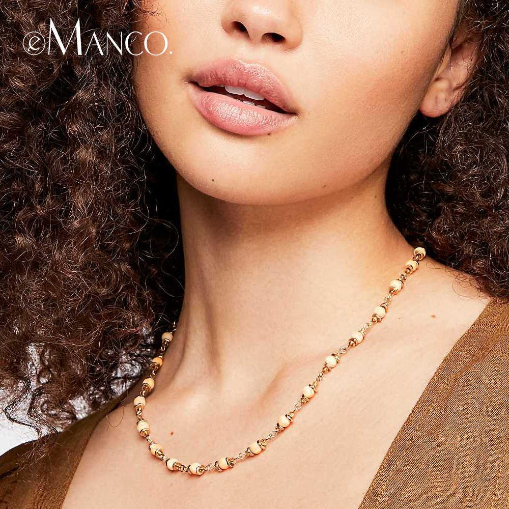 E-Manco деревянное ожерелье с бусинами для женщин роскошное богемное ожерелье с кристаллами четыре цвета Femme массивные модные украшения