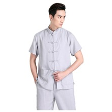 Shanghai Story Chinese Traditional Kung Fu Tops Short Sleeve Tang Suit Shirt For Men Cotton Blend Shirt / Grey