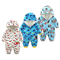 Infant Baby Rompers Fleece Winter Clothes Newborn Baby Boy Girl Sweater Jumpsuit Hooded Kid Toddler Outerwear