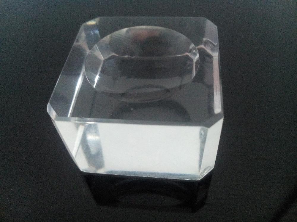 1 Pc Di Vetro Quadrato Di Cristallo Fossetta Di Base Palla Sfera Di Quarzo Da Tavolo Supporto Del Basamento Festa Di Nozze A Casa Decorazione Ornamenti Fermacarte