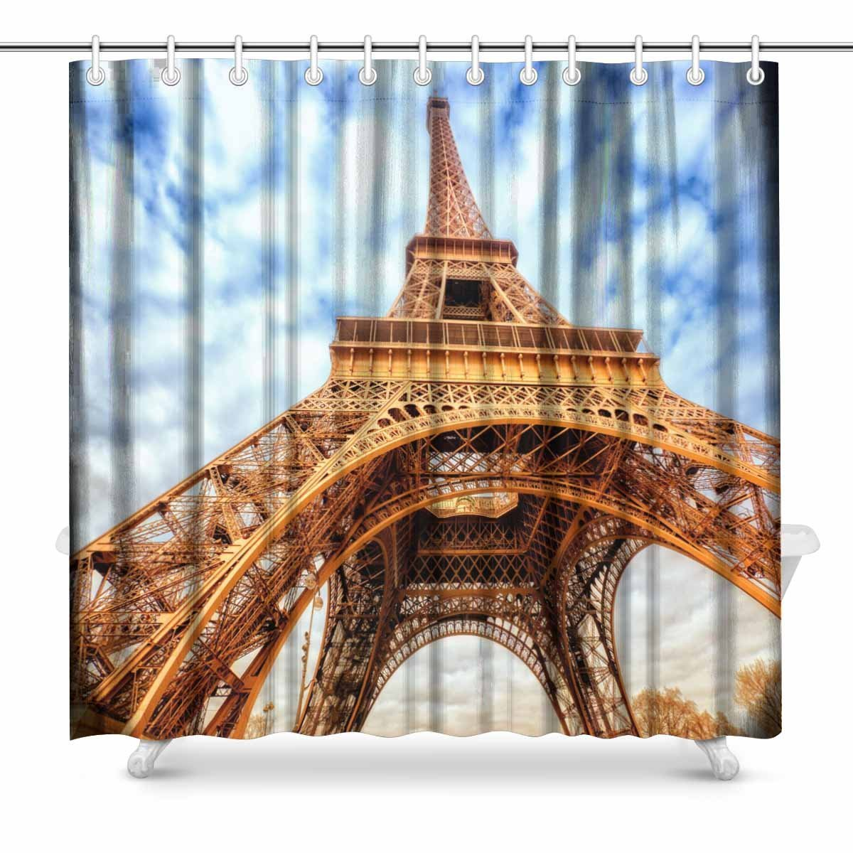 Populair Merk Aplysia Eiffeltoren Parijs Frankrijk Badkamer Douchegordijn Accessoires 72 Inches