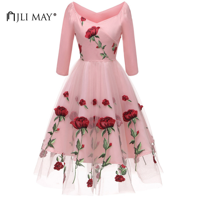 JLI MAY Fall White Floral Lace Party Dress Women Clothes Autumn Mesh Rose  Embroidery 3 4 Sleeve V-Neck Evening Formal Elegant 94b2e0761568