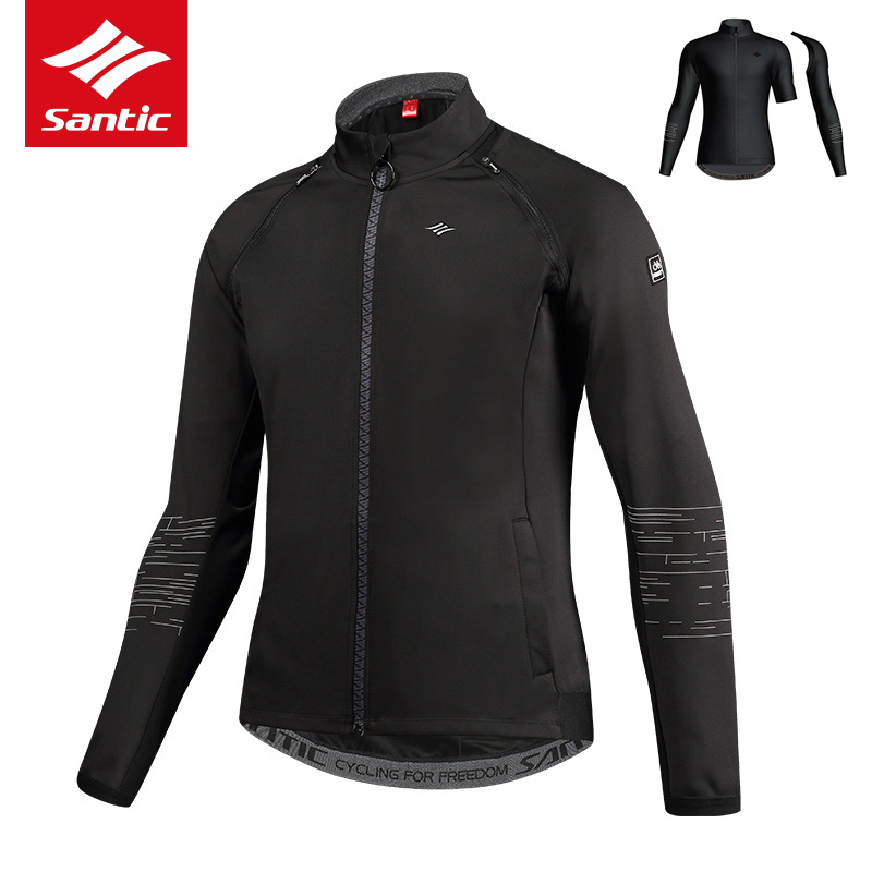 Santic Men Cycling Jacket Removable Sleeves Bike Bicycle Jacket Autumn Winter Fleece Thermal Sport Bike Clothing Ropa Ciclismo Футболка
