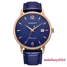 цена Newest 40mm Debert Blue Dial Golden plated case Complete Calendar Sapphire Crystal MIYOTA 8215 Automatic Mechancial Mens Watch онлайн в 2017 году